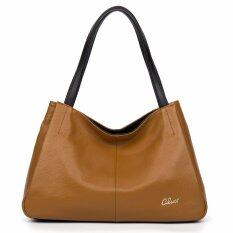 ซื้อ Cluci Women S Genuine Cowhide Leather Handbag Casual Shoulder Bag Tan Intl ใหม่ล่าสุด