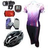 ขาย Cma ชุดปั่นจักรยานผู้หญิงขา 5 ส่วน St สีม่วง หมวกจักรยาน H 18 สีขาว ถุงมือปั่นจักรยานแบบฟรีไซด์ ลายดอกไม้ สีม่วง ไมค์จักรยาน สีแดง ไฟชุดจักรยาน 5 Led รุ่น Wj 101 สีดำ ใหม่