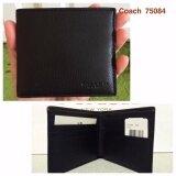 ขาย ซื้อ ออนไลน์ Coach 75084 Double Billfold Sport Calf Leather Wallet Black
