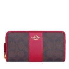 Coach กระเป๋าสตางค์ Accordion Zip Wallet In Signature Coated Canvas With Leather Stripe F54630 Iml72 Im Brown True Red ใน ไทย
