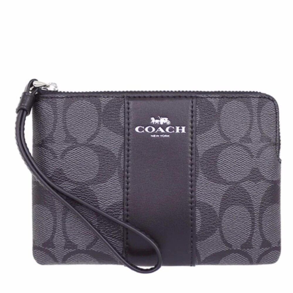 Coach กระเป๋าคล้องมือ COACH F58035 CORNER ZIP WRISTLET IN SIGNATURE COATED CANVAS WITH LEATHER STRIPE  กระเป๋าคล้องแขน กระเป๋าผู้หญิง