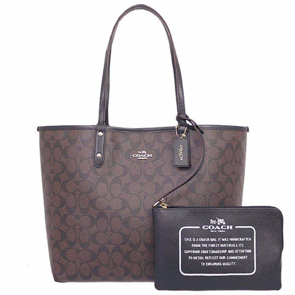 COACH กระเป๋า REVERSIBLE CITY TOTE IN SIGNATURE F36658 IMBDX (IM/BROWN/BLACK)  กระเป๋า Tote Bag กระเป๋าผู้หญิง
