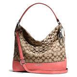 ซื้อ Coach กระเป๋าสะพายมีหูหิ้วสำหรับผู้หญิง รุ่น 23279 สีชากุหลาบ Coach ถูก