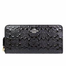 Coach กระเป๋าสตางค์ Accordion Zip Wallet In Signature Debossed Patent Leather F54805 Imblk Im Black ถูก