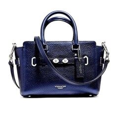 COACH MINI BLAKE CARRYALL IN METALLIC PEBBLE LEATHER (SVLBI)