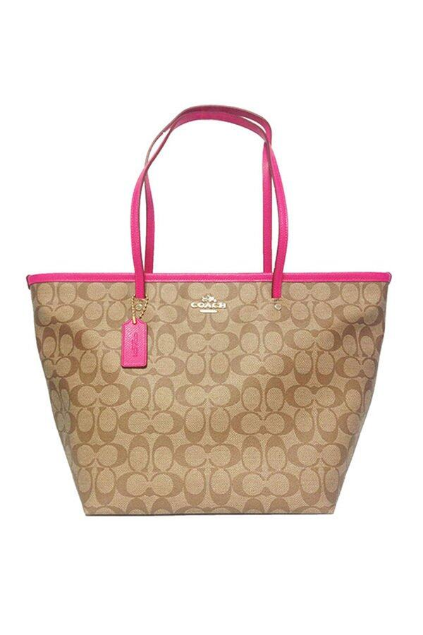 COACH SIGNATURE LARGE COH TAXI TOTE (Pink Ruby) (F34105_IMCMY)  กระเป๋า Tote Bag กระเป๋าผู้หญิง