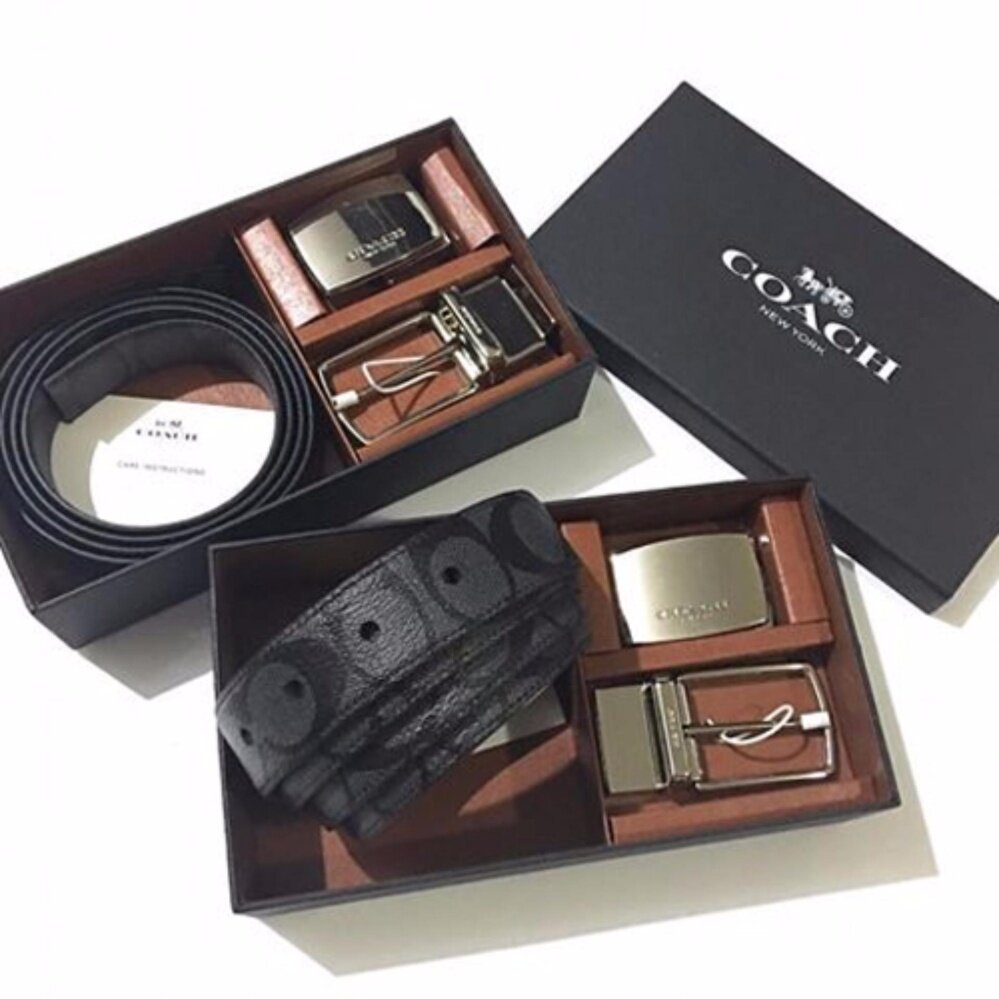 COACH เข็มขัด SIGNATURE MOD PLAQUE HARNESS CUT-TO-SIZE REVERSIBLE BELT F65242 (CHARCOAL/BLACK)