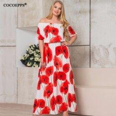 ขาย Cocoepps วินเทจดอกไม้พิมพ์ชุดผู้หญิงขนาดใหญ่ 2017 ฤดูร้อนเซ็กซี่ปิดไหล่ชุดแม็กซิพลัสขนาดครึ่งแขน Vestidos นานาชาติ Cocoepps ถูก