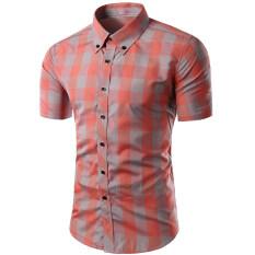 ขาย Cocotina ตาหมากรุกแขนสั้นแฟชั่นบุรุษเสื้อลำลองว่าทรงเพรียวเสื้อยืดเสื้อยืดเสื้อ ส้ม สีเทาลาย ราคาถูกที่สุด