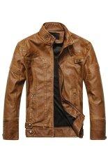 ขาย Cocotina Man S Solid Color Fashion Pu Leather Long Sleeve Motorcycle Coat Jacket Outwear Brown ออนไลน์