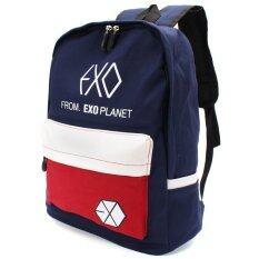 ซื้อ กระเป๋า กระเป๋าเป้สะพายหลังผู้ชาย Colorful Canvas Backpack Outdoor Travel Schoolbag Bookbag Rucksack G*rl Boy Design Men Women Student Mochila Exo Bag Blue Exo เป็นต้นฉบับ