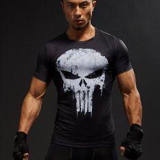ราคา Compression Shirts Men 3D Printed T Shirts Short Sleeve Cosplay Fitness Body Building Male Crossfit Tops Punk Skull Skeleton Black Intl Unbranded Generic