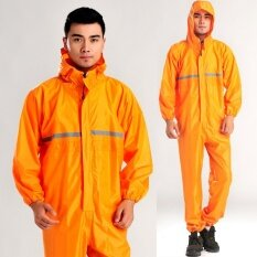 ทบทวน Conjoined Raincoats Overalls Electric Motorcycle Fashion Raincoat Men And Women Fission Rain Suit Orange Intl
