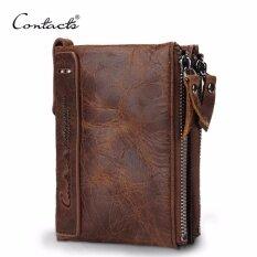 ราคา Contact S Hot Genuine Crazy Horse Cowhide Leather Men Wallet Short Coin Purse Small Vintage Wallet Brand High Quality Designer Intl Contact S จีน