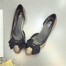 ขาย สะดวกสบาย Cooljie ทอด้านข้างรองเท้าส้นเตี้ยรองเท้าส้นเท้าขนาดเล็ก สีเทา ออนไลน์ ฮ่องกง