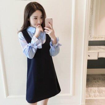 เกาหลีหญิงตั้งครรภ์แขนยาวส่วนยาวเลี้ยงลูกด้วยนม Buru ยี่ (สีฟ้าหลังคลอดเลี้ยงลูกด้วยนมมีพอร์ต (Cooljie))