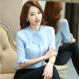 ราคา เสื้อเชิ๊ตหญิง แขนสั้น ผ้าชีฟอง แบบเรียบร้อย สไตล์เกาหลี ท้องฟ้าสีฟ้า ท้องฟ้าสีฟ้า Unbranded Generic เป็นต้นฉบับ