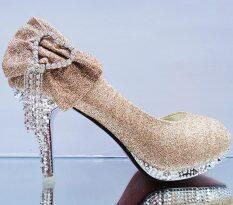 ขาย สีขาวโบว์กันน้ำรองเท้าเพื่อนเจ้าสาวรองเท้าแต่งงาน ทอง 6 ซม Cooljie Other เป็นต้นฉบับ