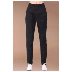 กางเกงขายาว สไตล์ลำลอง ผ้า Cotton ลินิน เอวยางยืด สีดำ ไซต์ S 3Xl B8804 ใน ไทย