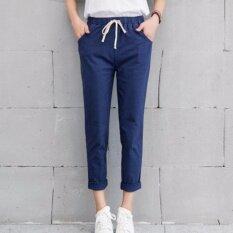 ซื้อ กางเกงขายาว ผ้า Cotton ลินิน เอวยางยืด สีกรมท่า ไซต์ S Xxl 1001 ออนไลน์ ไทย