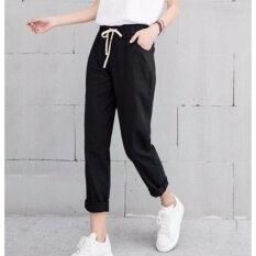 ราคา กางเกงขายาว ผ้า Cotton ลินิน เอวยางยืด สีดำ ไซต์ S Xxl 1001 ไทย