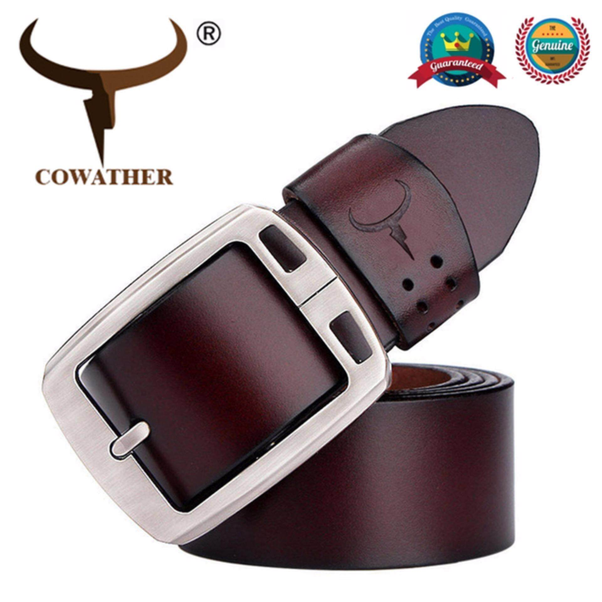 COWATHER เข็มขัดผู้ชาย หนังวัวแท้ 100% เข็มขัด ผู้ชาย เข็มขัด หนังแท้ Belt Men's Casual Waistband Belts,100% Cow Genuine Leather Belts With Single Pin Buckle