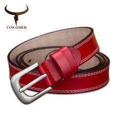 ราคา Cowather 2017 เข็มขัดวัวแท้หัวเข็มขัดหนังวัวรูปแบบหญิงบางสีแดง 115Cm เป็นต้นฉบับ Cowather