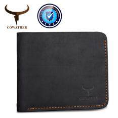 ซื้อ Cowather กระเป๋าสตางค์หนังแท้แบบพับสองพับด้านบนกระเป๋าสตางค์หนังวัวแท้ 100 คละแบบกระเป๋าสตางค์พวงกุญแจหนังแท้สีเงินสำหรับผู้ชาย ทำจากหนังแท้ Cowather