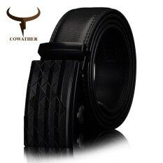 ขาย ซื้อ Cowather Men S Automatic Buckle Belt With Cow Genuine Leather Black Brown Belts For Men Brand Wide 3 5 Cm Cz058 Intl ใน จีน