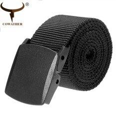 ราคา Cowather Men S Military Tactical Canvas Web Belt Flip Top Black Buckle Outdoor Tactical Male Jeans Belts Tali Belakang Kanvas Taktikal Tentera Lelaki 110Cm 130Cm Intl Cowather ออนไลน์