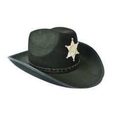 คาวบอยเวสต์หมวกนายอำเภอตะวันตกหมวกชุดแฟนซีฮาโลวีนเครื่องแต่งกายของพรรค (สีดำ)-สนามบินนานาชาติ.