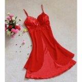 ซื้อ Cozy Women Silk Lace Nightgowns Chiffon Spaghetti Straps Sleepwear Robes Red Intl ใหม่