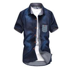 ซื้อ Chao Ren Chao Pin เสื้อเซิ้ตยีนส์แขนสั้น วินเทจ C39 ยีนส์สั้นสีน้ำเงินเข้ม C39 ยีนส์สั้นสีน้ำเงินเข้ม ใหม่