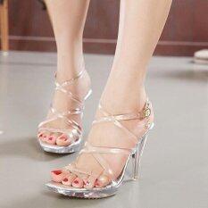 Crystal Heels Summer Sandals Thin High Heels Transparent Waterproof Ladies Sandals ใหม่ล่าสุด