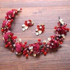 ส่วนลด สินค้า Crystal Pearls Crown Jewels Wedding Parties Red Hair Ornaments Bridal Brides Hair Accessories Intl