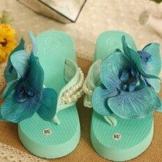ซื้อ Cs ฤดูร้อนริมทะเลดอกไม้ชายหาดรองเท้าลากคำ Slope กับรองเท้าแตะรีสอร์ทรองเท้าแตะรองเท้าแตะหญิงฤดูร้อนรองเท้าแตะ สีขาวสีขาวกล้วยไม้ นานาชาติ ใน จีน