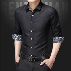 ซื้อ เสื้อเชิ้ตสีขาวเกาหลีฤดูร้อนส่วนบางผู้ชาย Cs06 สีดำ ถูก