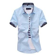 ราคา ราคาถูกที่สุด เสื้อชิ้ตแขนสั้นบุรุษเข้ารูปสีขาวสไตล์เกาหลี ท้องฟ้าสีฟ้าแขนสั้น Cuihua ปกเสื้อ