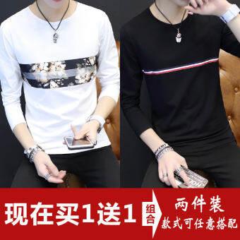เสื้อยืดแขนยาวบุรุษผู้ชายสไตล์เกาหลี (Cuihua สีดำ + หน้าอกลายสีน้ำเงินเข้มแขนยาว)-