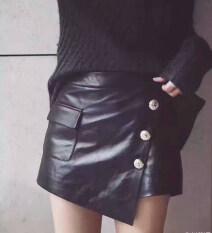 ขาย กระโปรงหนัง หนังครึ่งความยาว Culottes สวมใส่ด้านนอกเอวสูงวาง สีดำ ใหม่