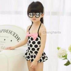 Cute Baby G*rl Swimwear One Piece Black Dots With Pink Bow Knot 2 6Y Girls Swimsuit Kid Swimming Suits Sw0641 Intl ใน จีน