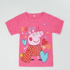 ส่วนลด สินค้า เด็กน่ารักสาว Peppa หมูการ์ตูนฝ้ายสั้นแขนเสื้อสบายๆฤดูร้อนเสื้อยืด