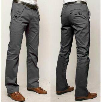 CY ผู้ชายราคาถูกสุดๆกางเกงแฟชั่นสบายๆชายเกาหลีกางเกงขายาวผ้าฝ้าย (สีเทา) - นานาชาติ