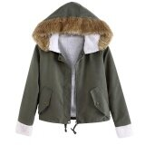 โปรโมชั่น Cyber Big Discount New Fashion Women Winter Army Green Faux Fur Collar Hooded Outwear Jacket Coats Intl ฮ่องกง