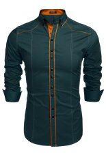 ขาย ไซเบอร์ Coofandy ชายแฟชั่นตรงปกเสื้อแขนเสื้อยาวตกเปลี่ยนสีเสื้อลำลองผ้าฝ้ายลงปุ่ม ราคาถูกที่สุด