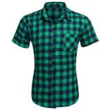 ราคา ไซเบอร์ Coofandy เสื้อเชิ้ตผ้าลินินคอปกแขนสั้นลายสก๊อต สีเขียว ราคาถูกที่สุด