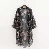 ราคา Cyber Fashion Lady Women 3 4 Sleeve Front Open Neck Floral Asymmetric Hem Loose Chiffon Blouse Black Intl Thailand