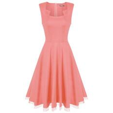 ราคา Cyber Finejo Women Fashion Sleeveless Tank High Waist Mesh Patchwork Hem Solid A Line Swing Long Dress Pink ออนไลน์