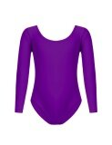 ซื้อ Cyber Low Profit Child G*rl Classic O Neck Long Sleeve Solid Dance Leotard Rose Violet Intl ฮ่องกง