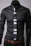 ราคา ไซเบอร์แฟชั่นผู้ชายพอดีเปิดลงปกเสื้อแขนยาวลำลองเสื้อสีดำ Unbranded Generic